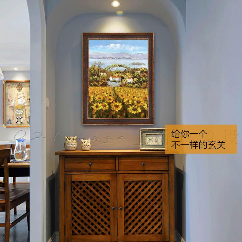 印象斑斓 普罗旺斯的向日葵 美式玄关花卉手绘油画餐厅卧室装饰画