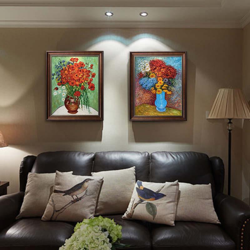 趙小勇工作室出品 梵高名畫 純手繪油畫花卉風景靜物美式復古掛畫