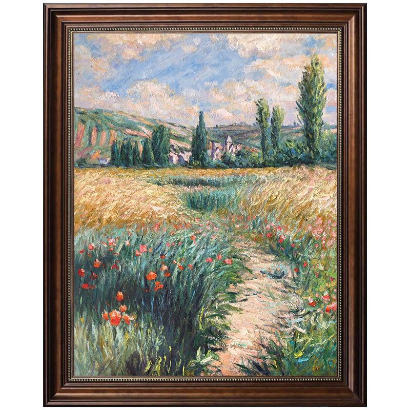 莫奈名画 圣马丁岛上的小路 手工油画 新古典风景欧式美式玄关画