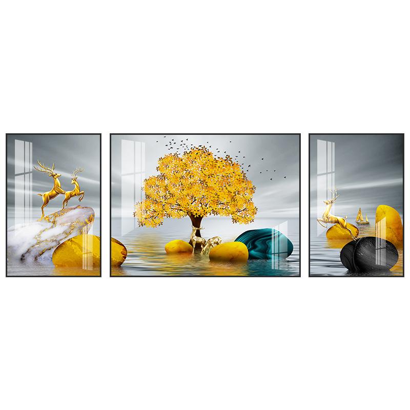 石來運轉客廳裝飾畫沙發背景墻三聯畫現代簡約掛畫晶瓷畫輕奢壁畫