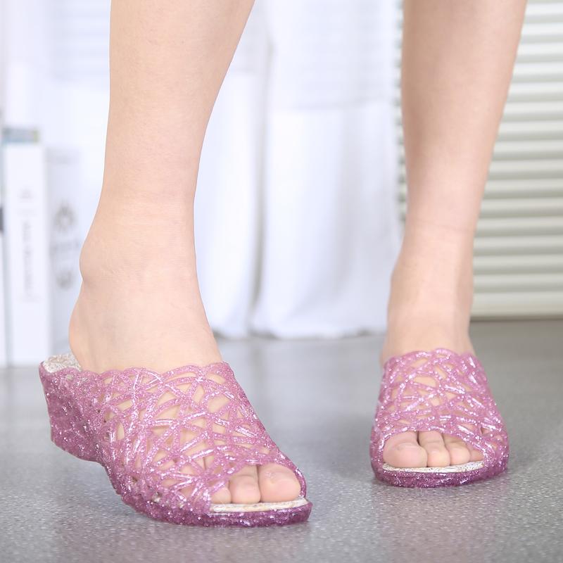 上海回力水晶坡跟女款拖鞋中高跟时尚拖鞋闪粉防滑增高轻便女凉拖