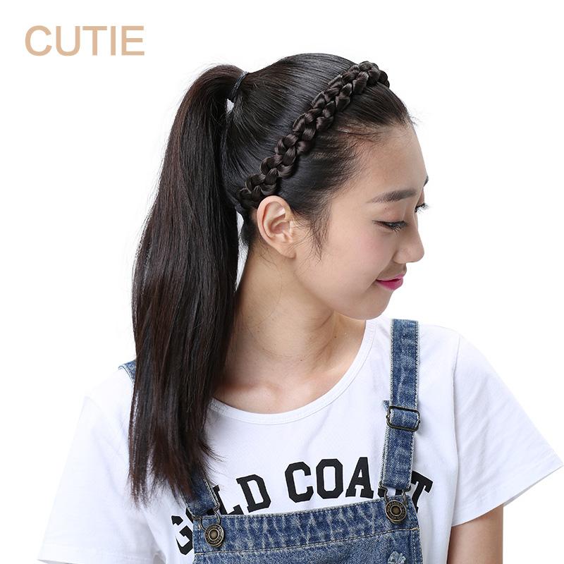 娇滴滴 假发发带 韩式时尚编织粗麻花辫子发箍头饰 皮筋头箍饰品
