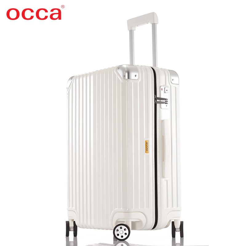 OCCA纯PC轻盈拉链箱20寸万向轮女网红拉杆箱24寸旅行箱登机箱