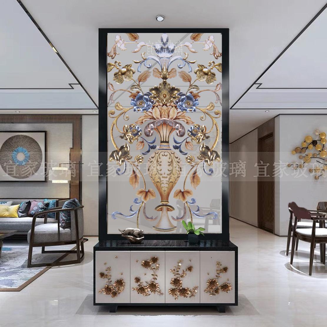 艺术玻璃玄关背景墙简欧美式现代隔断屏风鞋柜上轻奢双面深雕上海