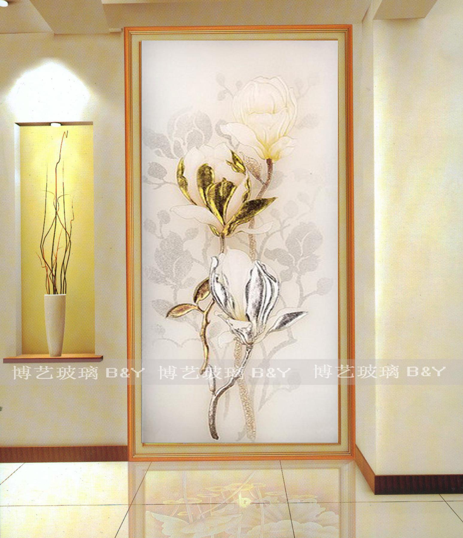 上海艺术玻璃玄关 隔断屏风简欧 现代玉兰 鞋柜上 双面透光 简约