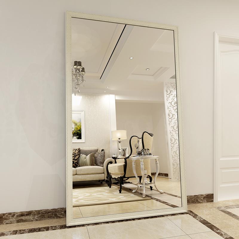 欧式实木试穿衣镜 全身落地镜家用支架壁挂长镜子服装店移动特价