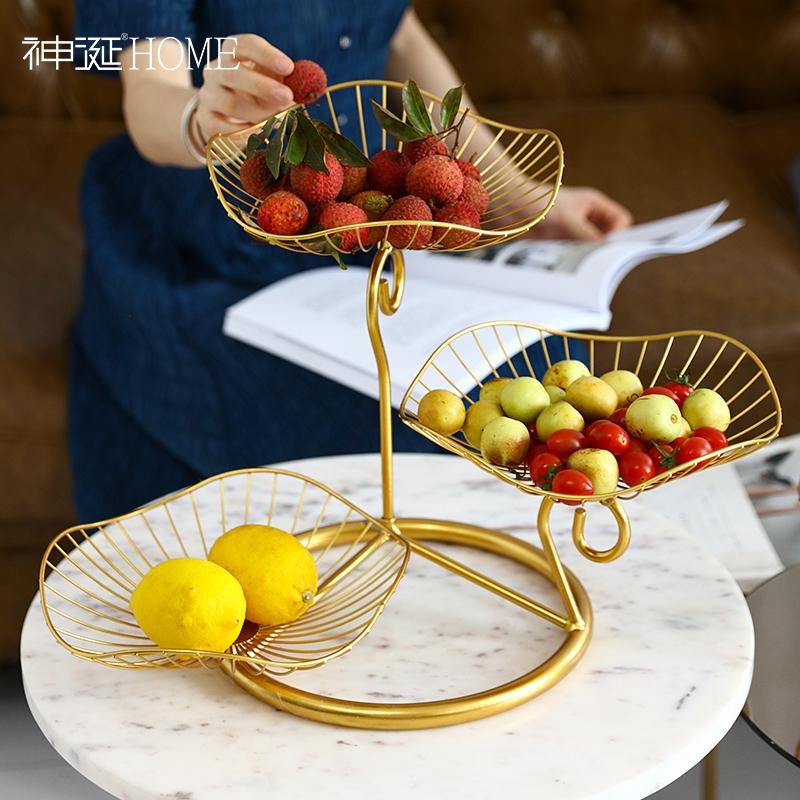 轻奢北欧ins铁艺水果盘创意现代客厅家用茶几零食盘个性餐厅摆件
