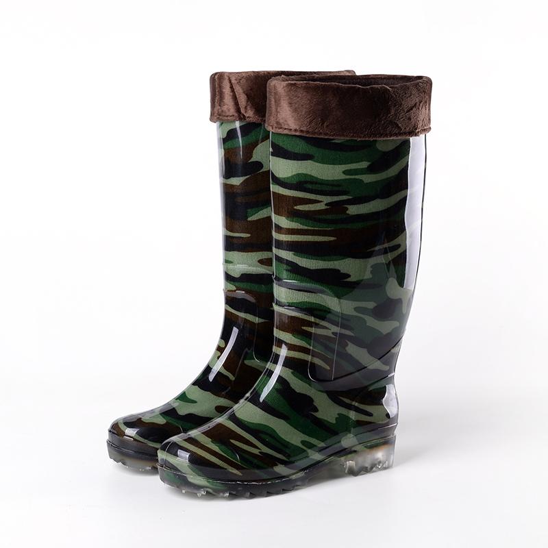 保暖中高筒雨鞋男士耐磨工作水靴短筒套鞋低帮牛筋底防滑塑胶棉鞋