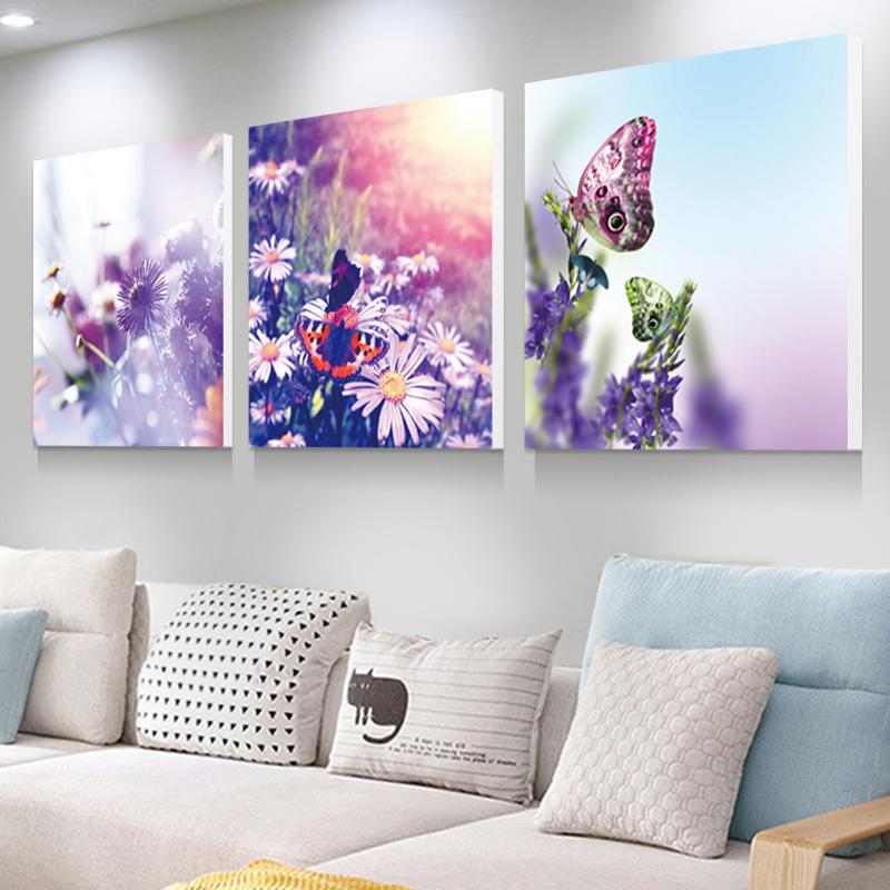 蝶戀花客廳裝飾畫冰晶玻璃壁畫現代簡約無框三聯畫臥室水晶掛畫