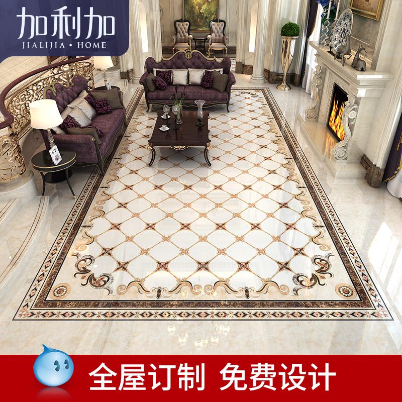 过道地砖拼花微晶石 欧式客厅瓷砖拼图玄关抛晶砖无限拼地板砖