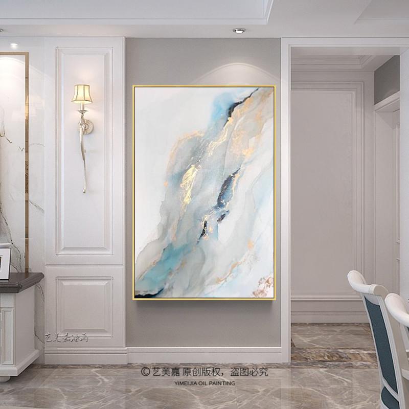 金箔色抽象海浪风景油画现代简约轻奢北欧式入户玄关装饰手绘挂壁