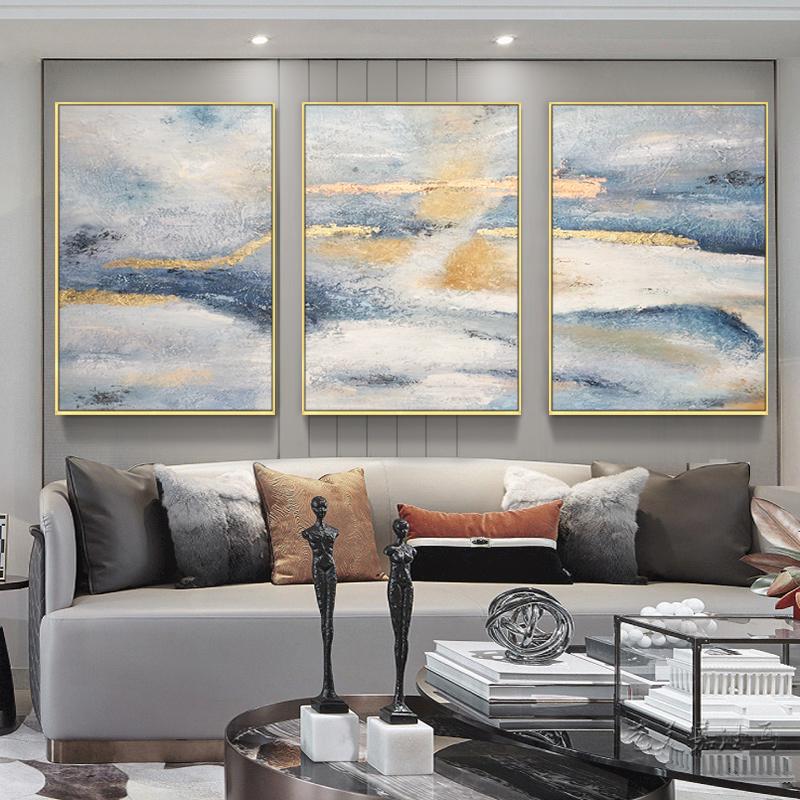 金箔色抽象風景油畫手繪后現代簡約輕奢北歐客廳裝飾沙發三聯掛壁