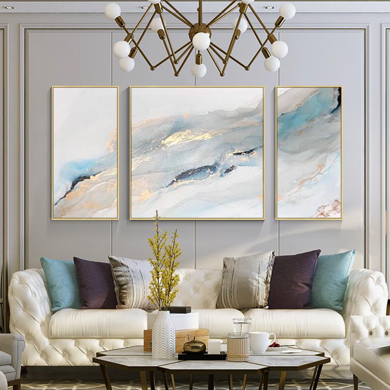 金箔色抽象海风景手工绘油画现代简约轻奢北欧式装饰客厅三联挂壁