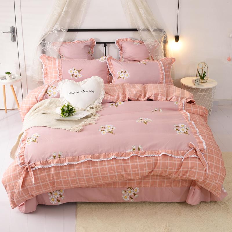 米床上用品 1.5m1.8m2.0 新款網紅爆款新款韓版四件套花邊被套 TT