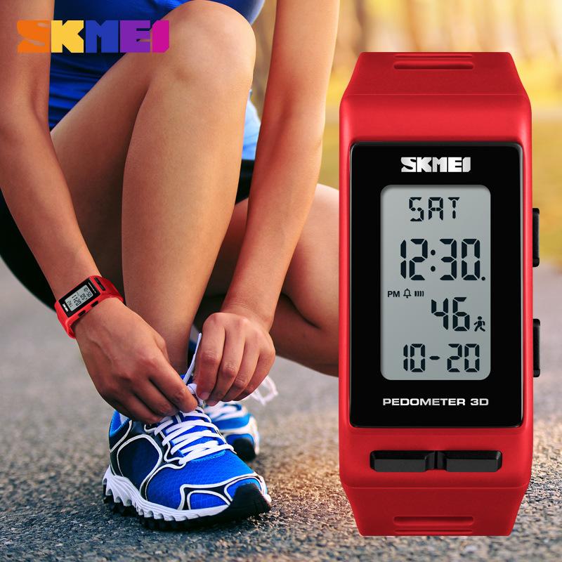 新款长方形运动计步男士手表男学生潮流跑步计是光电子腕表 2018