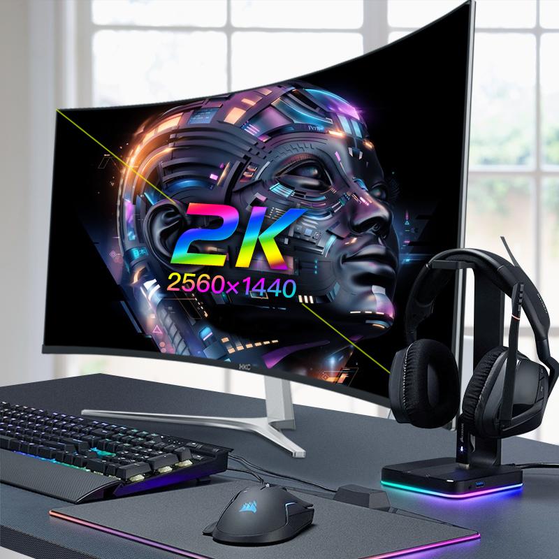 HKC 32英寸2K曲面电脑显示器超薄无边框C325Q电竞游戏液晶吃鸡曲面屏台式显示屏高清大屏HDMI网吧咖27宽屏4K