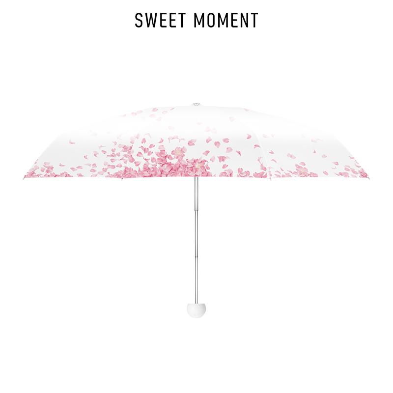 小时光樱花晴雨伞防晒两用五折叠小巧便携遮阳防紫外线双层太阳伞