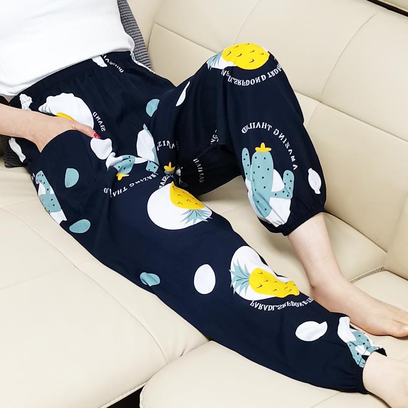 大码棉绸睡裤女夏人造棉薄款绵绸灯笼裤可外穿防蚊裤度假沙滩长裤