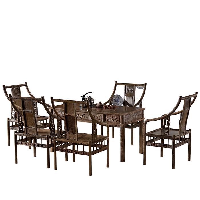 红木家具 鸡翅木茶桌 古典功夫茶桌椅组合 实木茶几茶台茶艺桌子