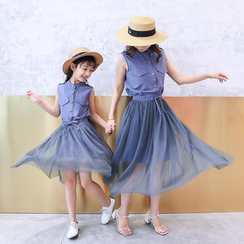 新款潮连衣裙趣味亲子套装洋气休闲时尚网纱裙夏季 2018 母女装夏装