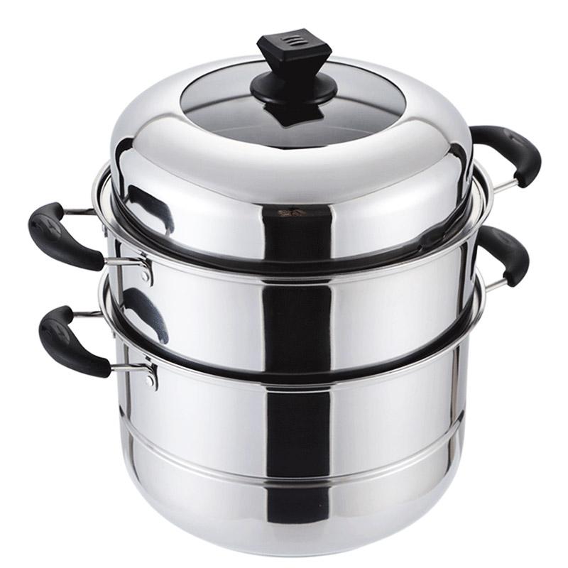 蒸锅不锈钢三层加厚复底汤锅小锅3层二2层多层蒸笼家用电磁炉锅具