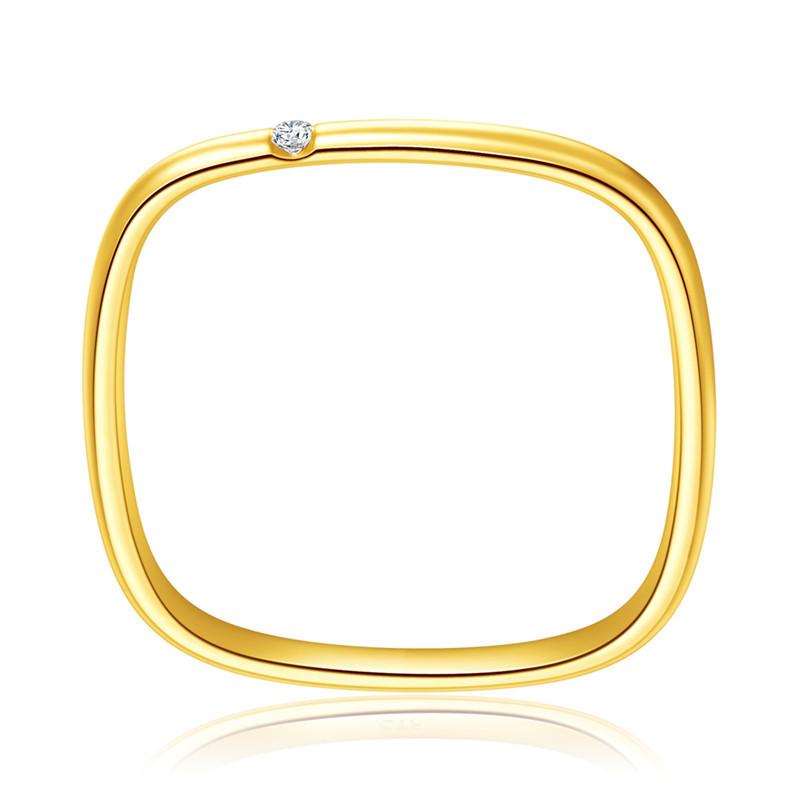 方形戒指女轻奢小众精致大福素圈简约18K黄金小钻石专柜礼盒周生 - 图3