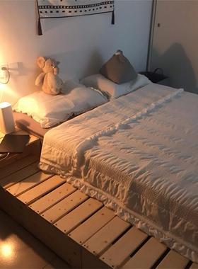 榻榻米矮床排骨架床架床板实木床卧室单双人ins日式民宿地台定制