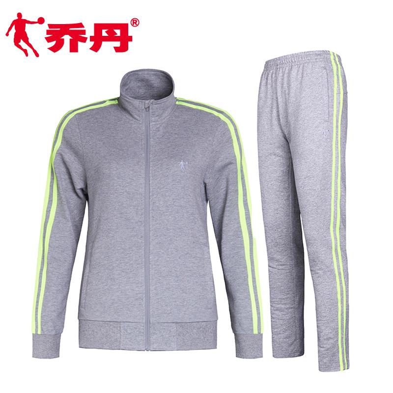 乔丹女装运动套装 晨练服套装女跑步外套长裤女士休闲运动服春秋
