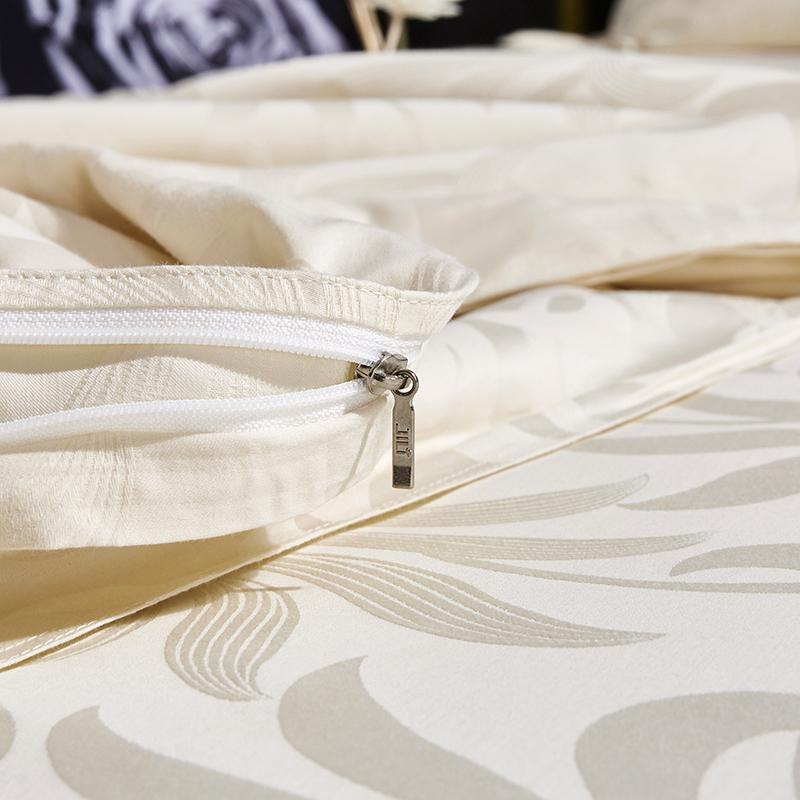 辑里全棉纯色贡缎被套纯棉高密度提花被罩套单人双人床上用品单件