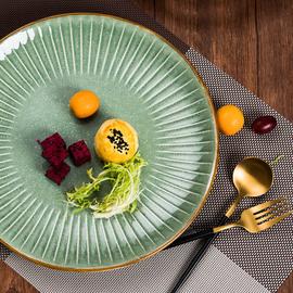 西餐厅牛排盘子陶瓷创意家用网红10寸水果大菜盘复古简约彩色浮雕
