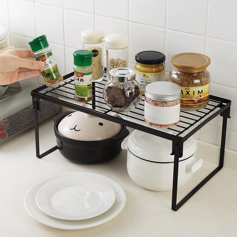 优思居 铁艺厨房分层置物架 可叠加橱柜沥水碗碟架调料收纳架子