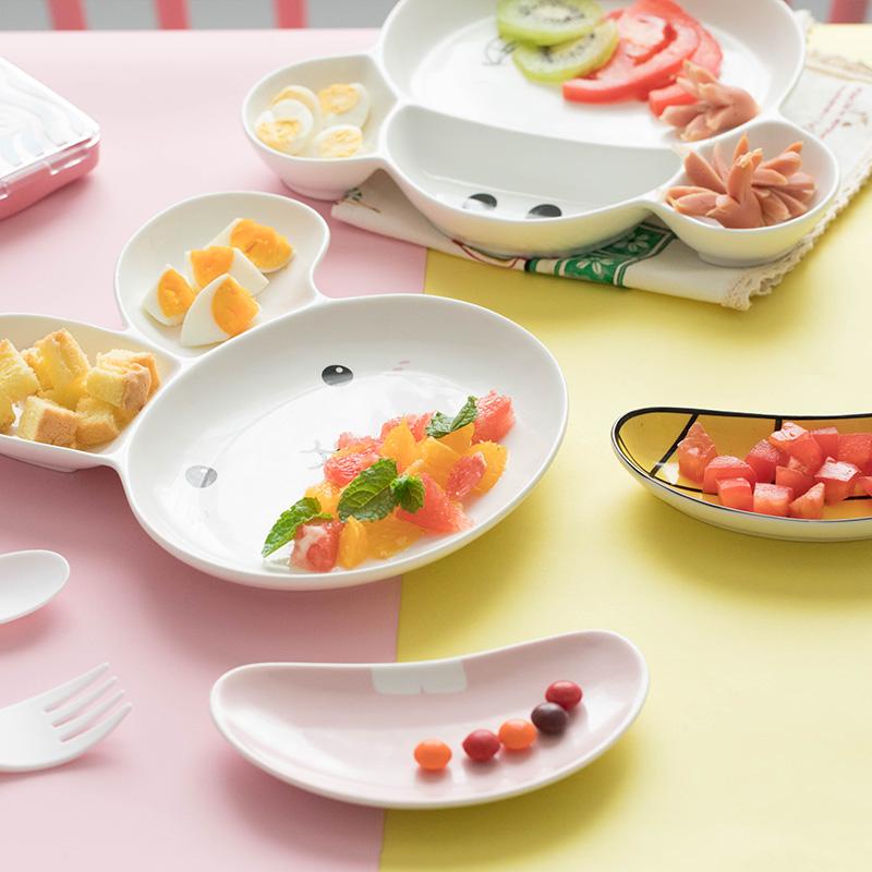 宝宝分格盘创意儿童餐具碗碟家用可爱卡通早餐盘陶瓷西餐盘水果盘