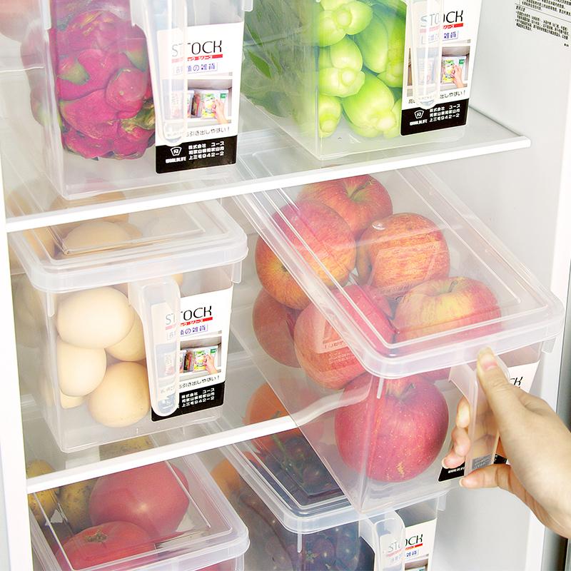 日本食品保鮮盒冰箱雞蛋收納盒帶把手蔬菜冷藏水果儲存透明儲物箱