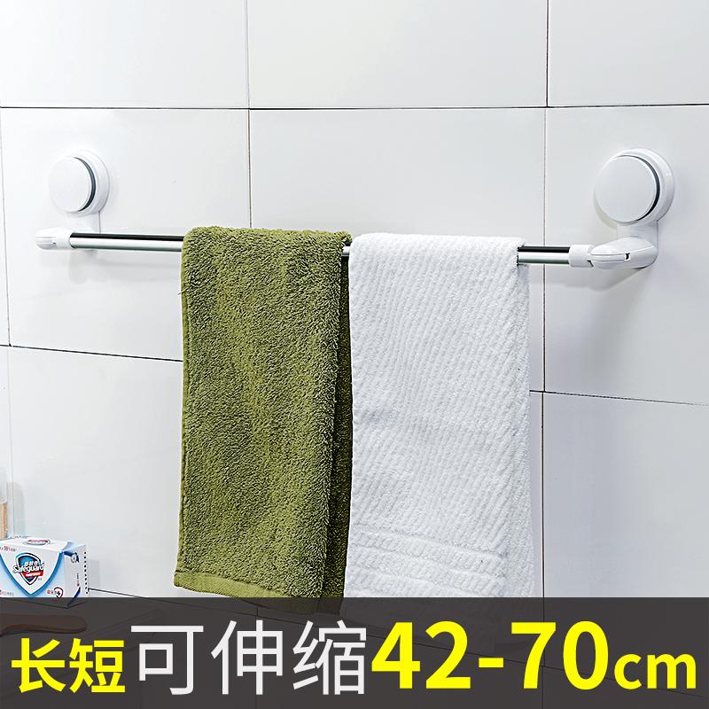 吸盤毛巾架免打孔浴室毛巾杆不鏽鋼置物架衛生間單杆伸縮浴巾掛鉤