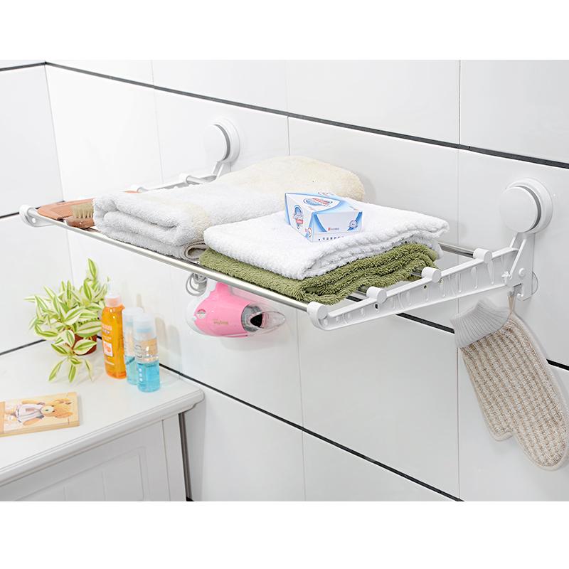 廁所吸盤浴巾架免打孔不鏽鋼可摺疊衛生間毛巾架收納浴室毛巾掛杆