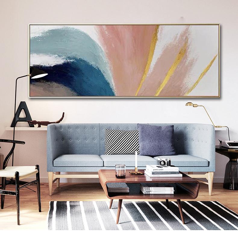 手繪客廳油畫沙發背景墻畫主臥床頭畫現代簡約抽象裝飾畫掛畫橫幅