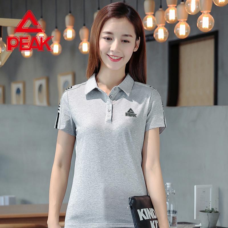 匹克Polo衫女短袖宽松显瘦简约灰色休闲运动上衣翻领T恤带领半袖