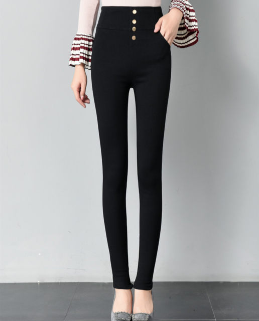Spring and autumn tight trousers, super high waist, small feet pants, black leggings, female outer wear, thin Korean style high waist, wild thin style