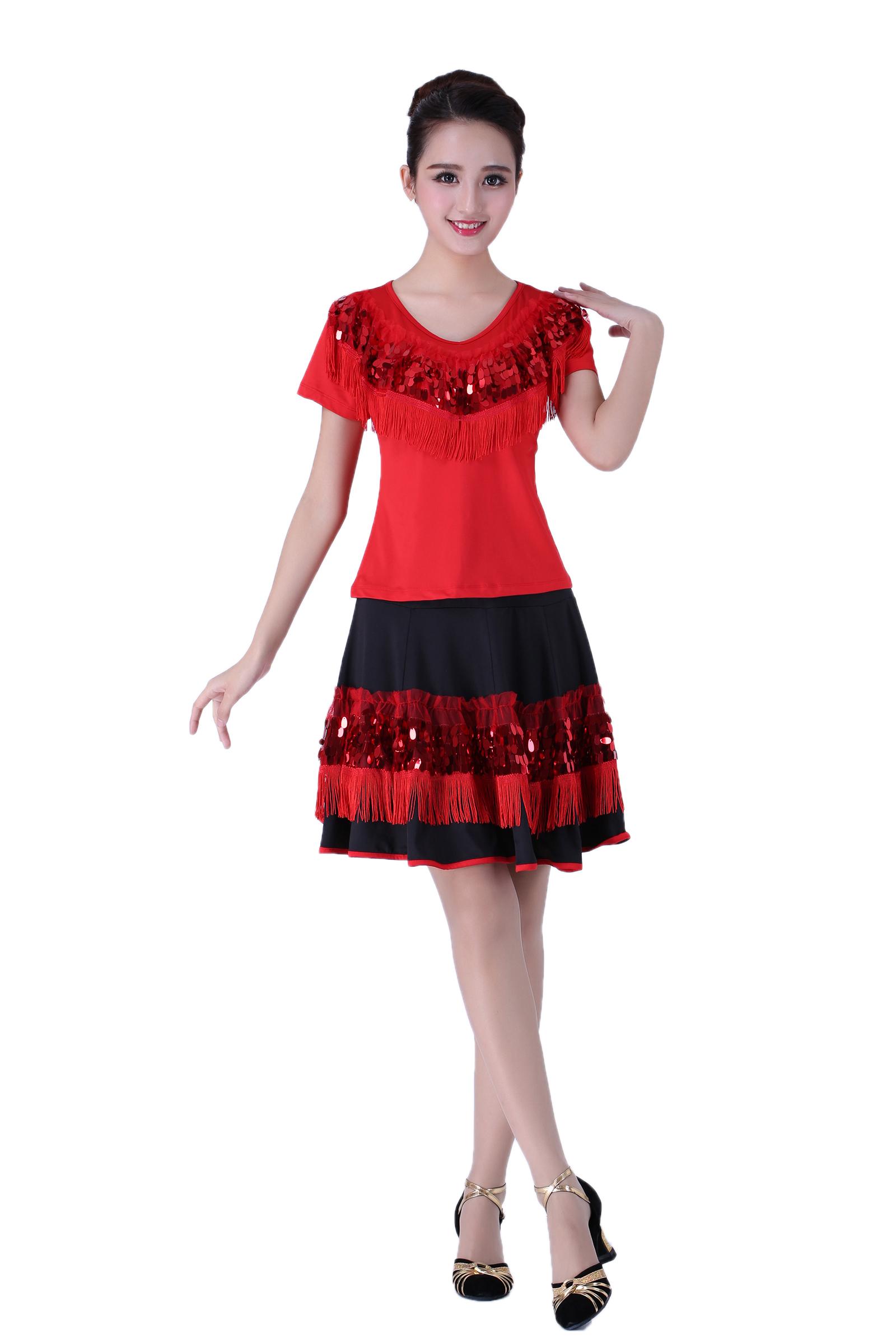 广场舞服装新款拉丁舞套装中老年夏表演服大红色流苏亮片套装