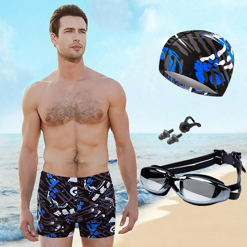 男士泳褲五件套裝 游泳裝備男時尚平角速幹加大碼加肥游泳褲泳衣