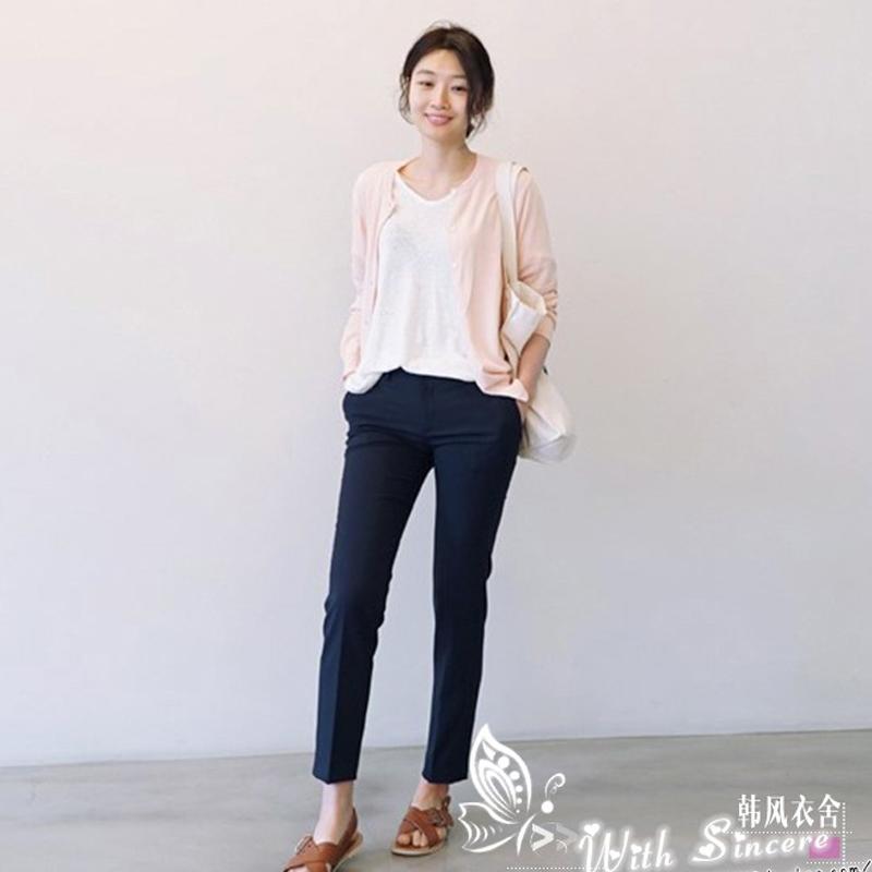 韩版新款西装裤女深色中腰修身显瘦九分 职业装女 下装长裤工装裤