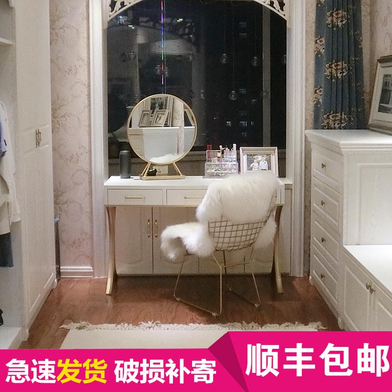 创意个姓铁艺梳妆台化妆镜子复古梳妆镜公主化妆桌坐立化妆梳妆台