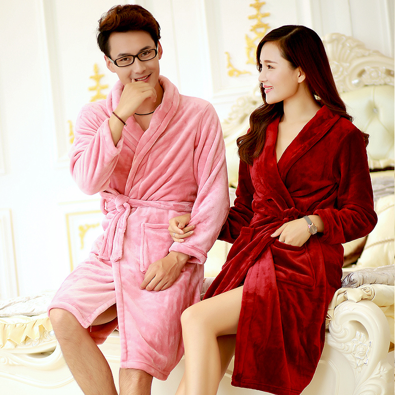 a84f87d653 2016 autumn and winter flannel nightgown male couple ms. thick coral velvet  robe bathrobe tracksuit habitat