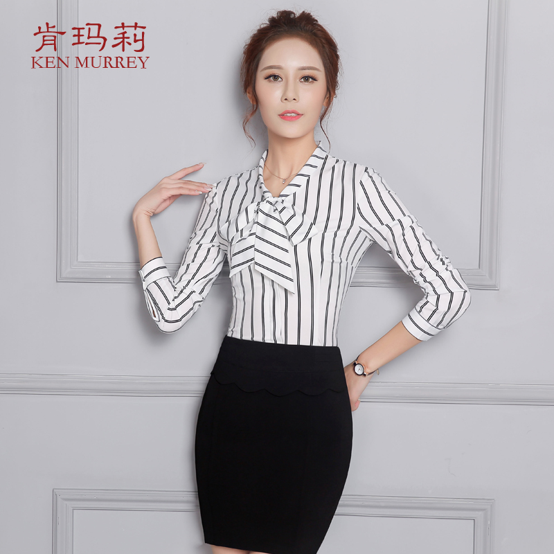 27d561ccd13 Shirt blouse career women skirt striped shirt female summer short sleeve  black and white vertical stripes repair body of professional dress shirt