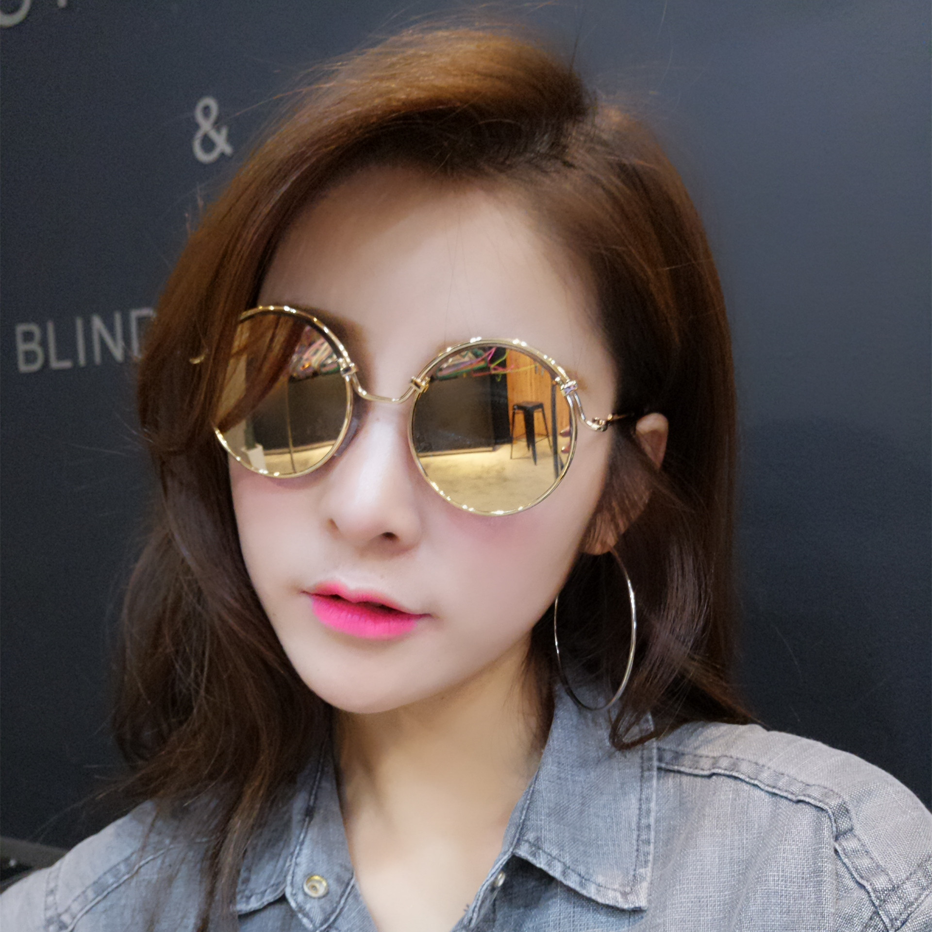 053a3fa21af Large round frame sunglasses female tide 2016 korean version of the upscale  polariscope round sunglasses for men and women face garde personality eyes