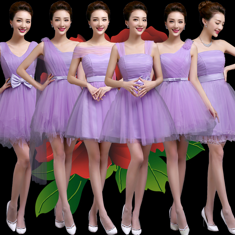 Buy 2016 new purple bridesmaid dress short paragraph sister group ...
