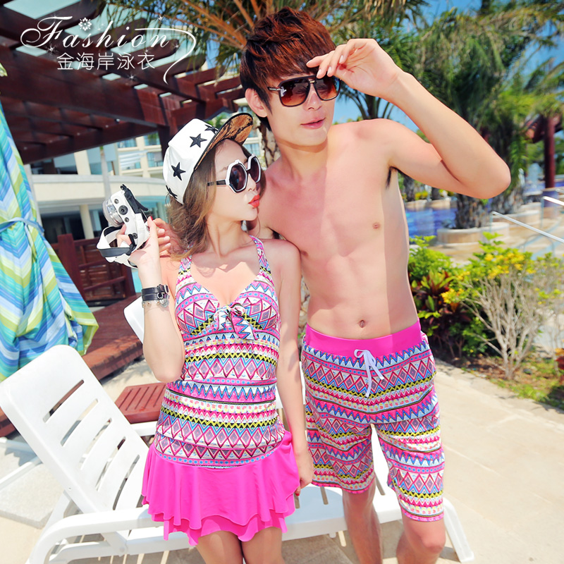 7b3e3a942cfe4 2016 new steel prop gather split skirt style three sets of female swimsuit  hot springs couple swimsuit beach pants for men