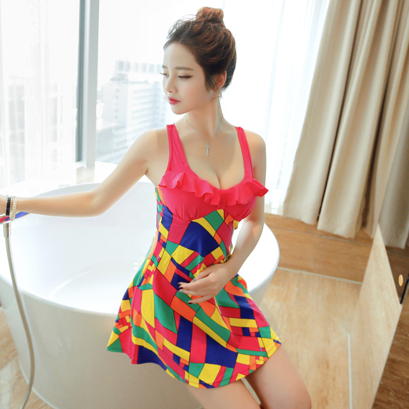 6fc7ba251b1a9 2016 new swimsuit ms. siamese boxer swimsuit skirt hot springs bathing suit  steel prop gather was thin female swimsuit boxer conservative