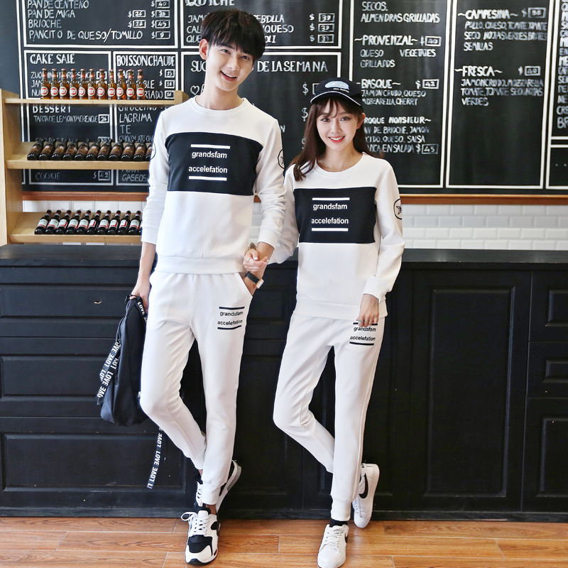 Buy 2016 spring and autumn suit korean slim hedging letters printed long  sleeve t-shirt lovers to spend a couple of t-shirts for men and women tide  in Cheap ... 7ae348025