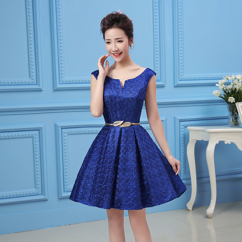 Buy 2016 Spring New Navy Blue Bridesmaid Dress Short Paragraph
